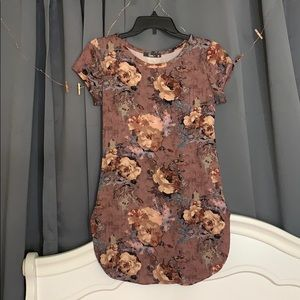 Floral short sleeve, long shirt soft material